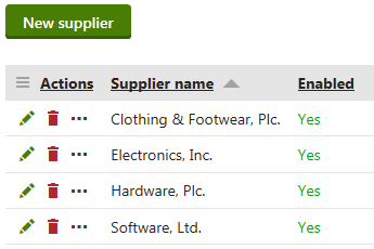 Managing suppliers