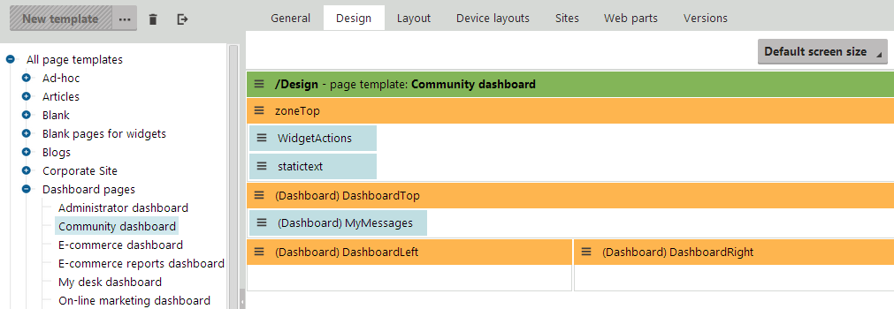 Preparing the design and default content of a dashboard template