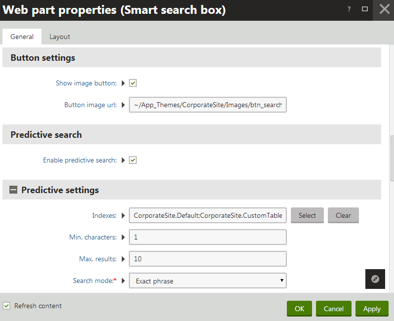 Enabling predictive search for the Smart search box