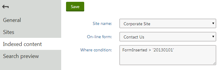 Adding a form to a search index