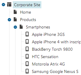 Document type icons displayed in the content tree