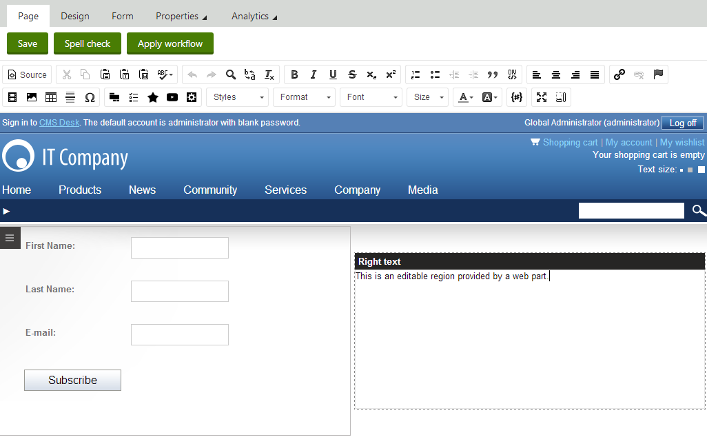 adding portal engine functionality to aspx page templates kentico