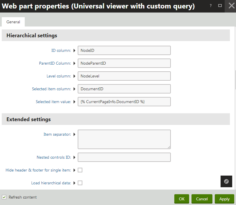 Configuring the Hierarchical settings of the Universal viewer with custom query web part