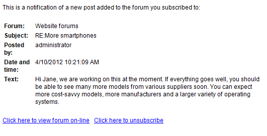New forum post notification e-mail