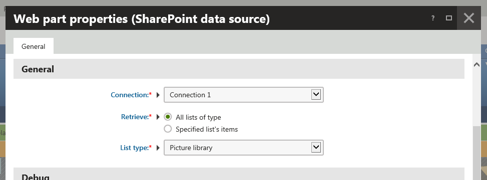 Configuring the SharePoint data source web part