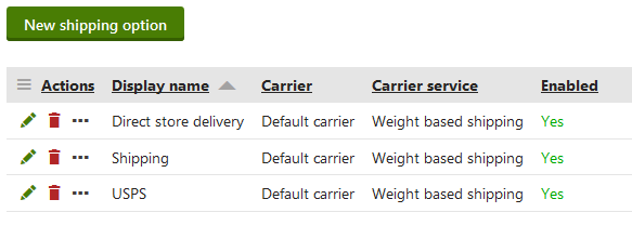 Managing shipping options