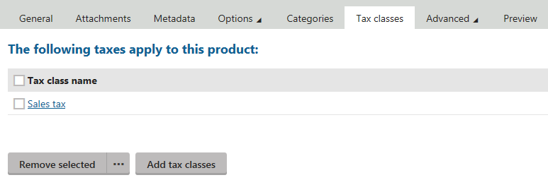 Editing a product - selecting tax classes