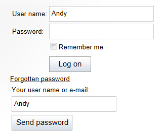 Recovering a password through the Logon form web part