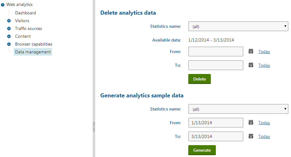 Manually managing analytics data