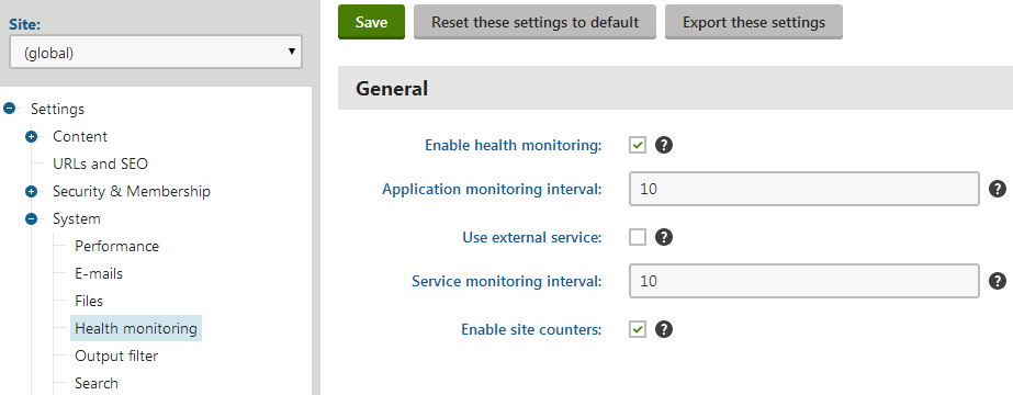 Health monitoring settings