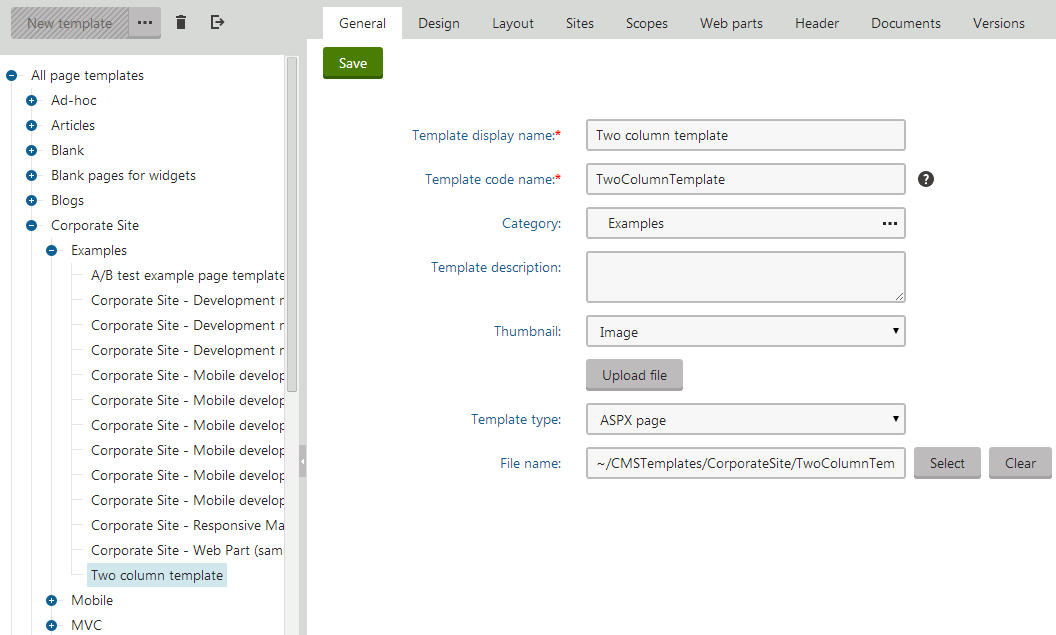 Registering a web form as an ASPX template