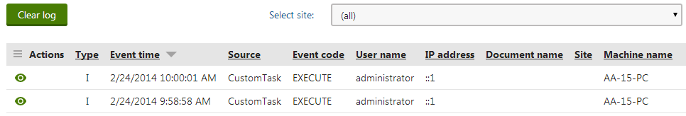 Information events logged by the custom scheduled task