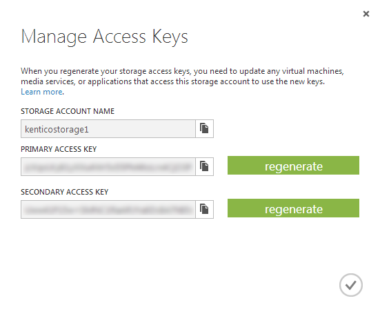 The access keys for a blob storage