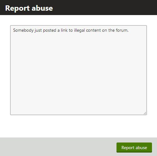 Example of the Report abuse dialog