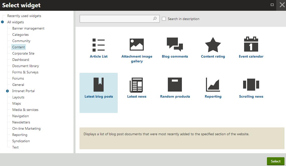 Customizing pages using widgets | Kentico 8 Tutorial
