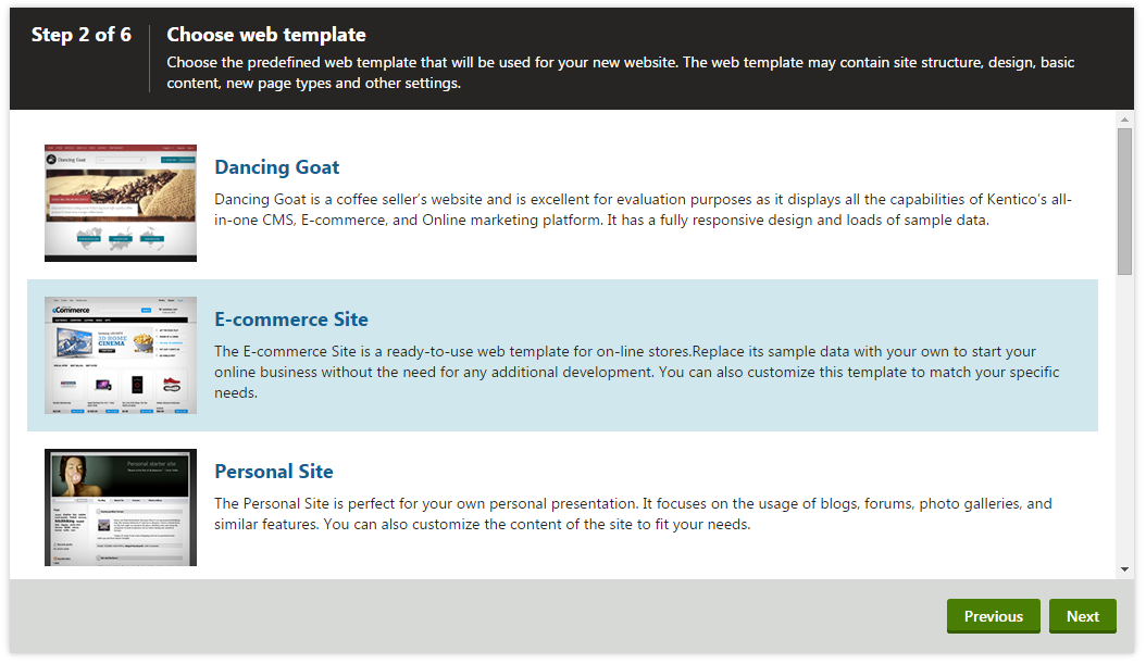 e commerce sites templates - installing the e commerce sample sites kentico 9