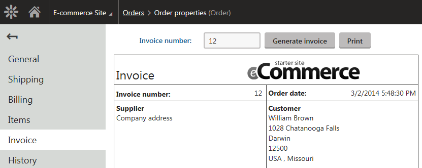 Editing an order - Invoice tab