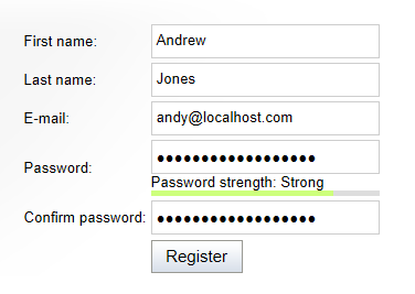 Output of the registration form web part