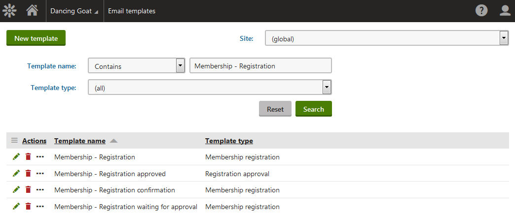 Customizing user registration emails kentico 9 documentation for Kentico email template