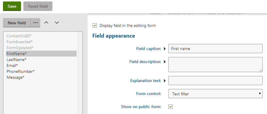 Setting the form control for a filter form field