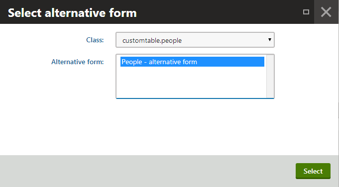 Selecting an alternative form