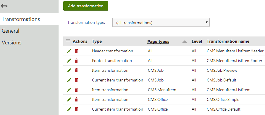 Viewing the sub-transformations defined for a hierarchical transformation