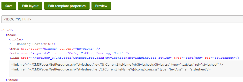 Linking stylesheets stored on the file system in the page