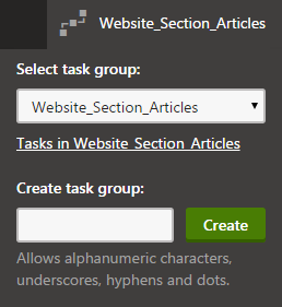 Setting the staging task group context - either select an existing group or create a new one