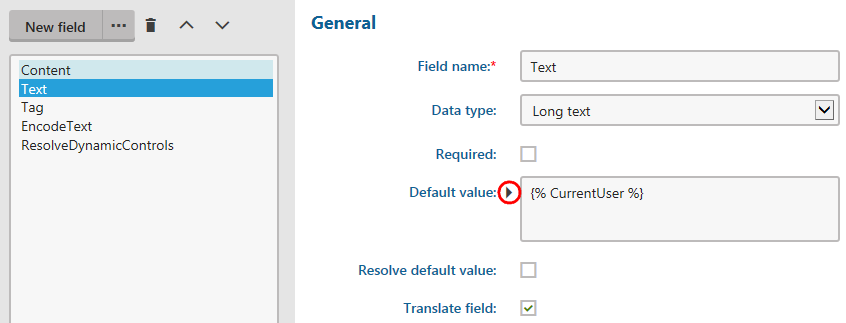 Adding macros into default form field values