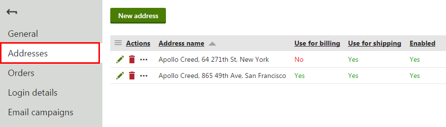 Switching to the Addresses tab